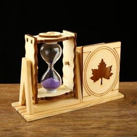 """Часы песочные """"Кленовый лист"""" с карандашницей, 10х13 см, микс"""