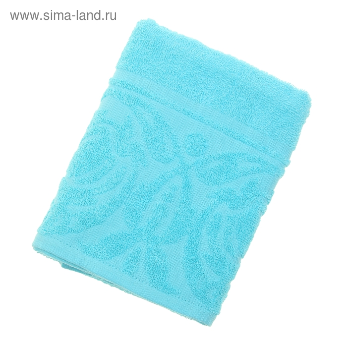 """Полотенце махровое """"Цветок"""", размер 50х90 см, 300 гр/м2, цвет голубой"""