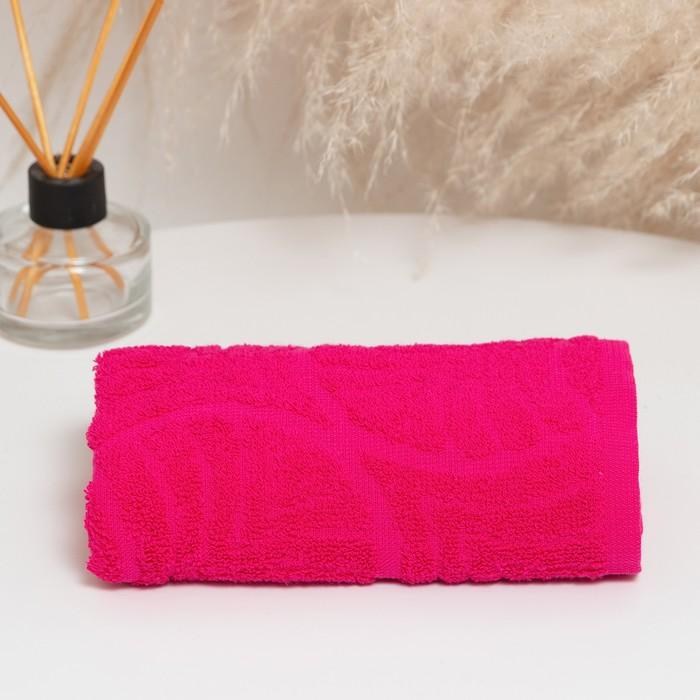 """Полотенце махровое """"Волна"""", размер 50х90 см, 300 гр/м2, цвет малина"""