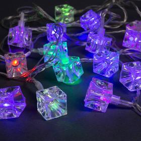 """Гирлянда """"Нить"""" 5 м с насадками """"Кубики"""", IP20, прозрачная нить, 20 LED, свечение мульти, мигание, 220 В"""