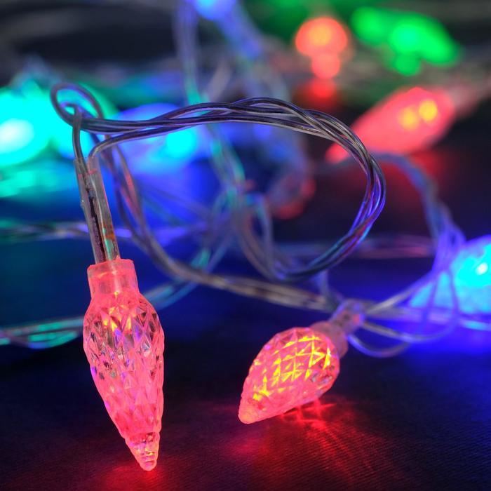 """Гирлянда """"Нить"""" 5 м с насадками """"Шишки"""", IP20, прозрачная нить, 20 LED, свечение мульти, мигание, 220 В"""