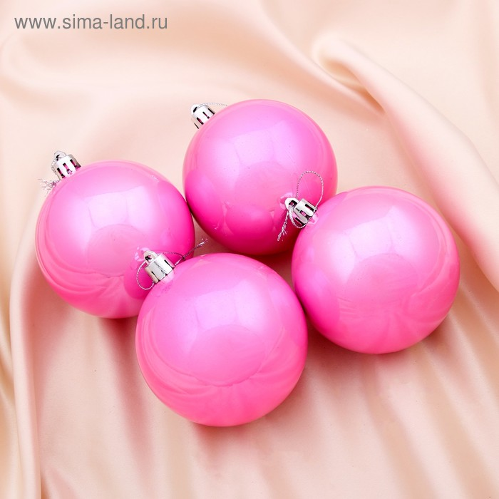"""Новогодние шары """"Розовая жемчужная капель"""" (набор 4 шт.)"""