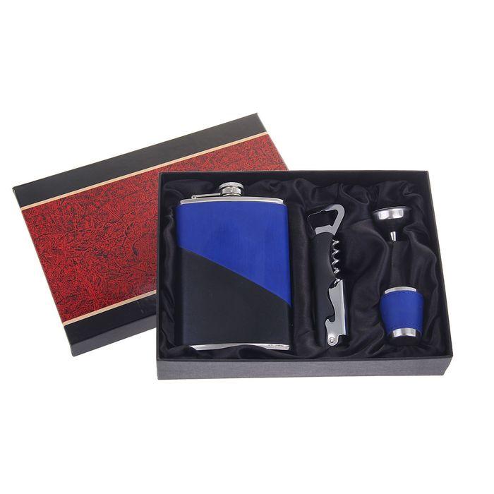 """Подарочный набор 4 в 1 """"Диагональ"""", сине-чёрный: фляжка 270 мл + рюмка, воронка и нож 4 в 1"""