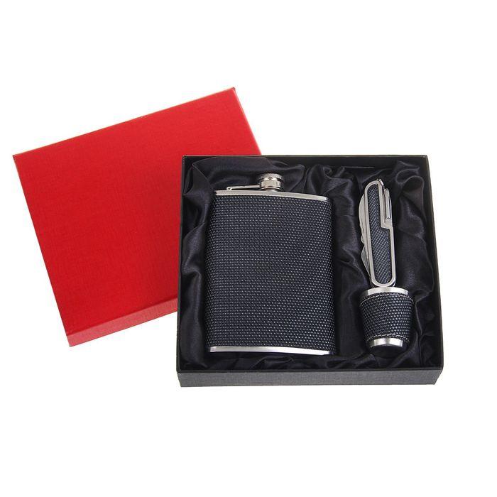 Подарочный набор 3 в 1 Independent: фляжка 240 мл + нож 7 в 1 и рюмка