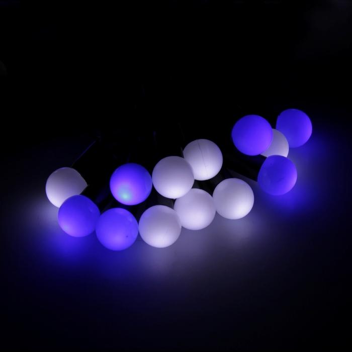 """Гирлянда """"Нить"""" уличная с насадками """"Шарики d=1,5 см"""" 6 м, LED-50-220V, моргает, свечение бело-синее"""