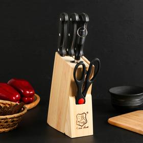 Набор 5 предметов: ножи 3 шт 18/17/16,5 см, ножницы, ножеточка, на подставке