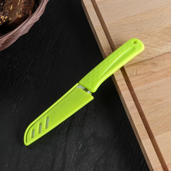 """Нож с антиналипающим покрытием """"Краски"""" лезвие 8,5 см, с чехлом, цвета МИКС"""