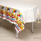 Скатерть «С Днём рождения», смайлы и тортик