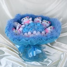 Букет из игрушек 'Забавные кошечки' голубой Ош