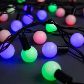 """Гирлянда """"Нить"""" 10 м с насадками """"Шарики 2.5 см"""", IP44, тёмная нить, 100 LED, свечение мульти, мигание, 220 В"""