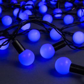 """Гирлянда """"Нить"""" 10 м с насадками """"Шарики 2.5 см"""", IP44, тёмная нить, 100 LED, свечение синее, 8 режимов, 220 В"""