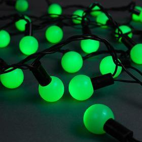 """Гирлянда """"Нить"""" 10 м с насадками """"Шарики 2.5 см"""", IP44, тёмная нить, 100 LED, свечение зелёное, 8 режимов, 220 В"""