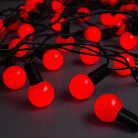 """Гирлянда """"Нить"""" 10 м с насадками """"Шарики 2.5 см"""", IP44, тёмная нить, 100 LED, свечение красное, 8 режимов, 220 В"""
