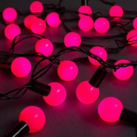 """Гирлянда """"Нить"""" 10 м с насадками """"Шарики 2.5 см"""", IP44, тёмная нить, 100 LED, свечение розовое, 8 режимов, 220 В"""