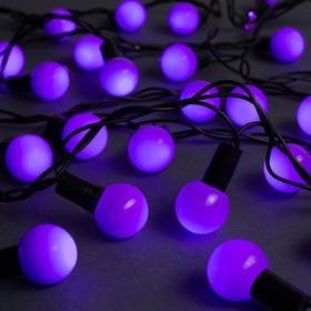 """Гирлянда """"Нить"""" 10 м с насадками """"Шарики 2.5 см"""", IP44, тёмная нить, 100 LED, свечение фиолетовое, 8 режимов, 220 В"""