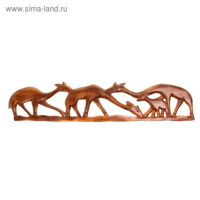 """Панно декоративное """"Стадо оленей"""" 100х20х1 см"""
