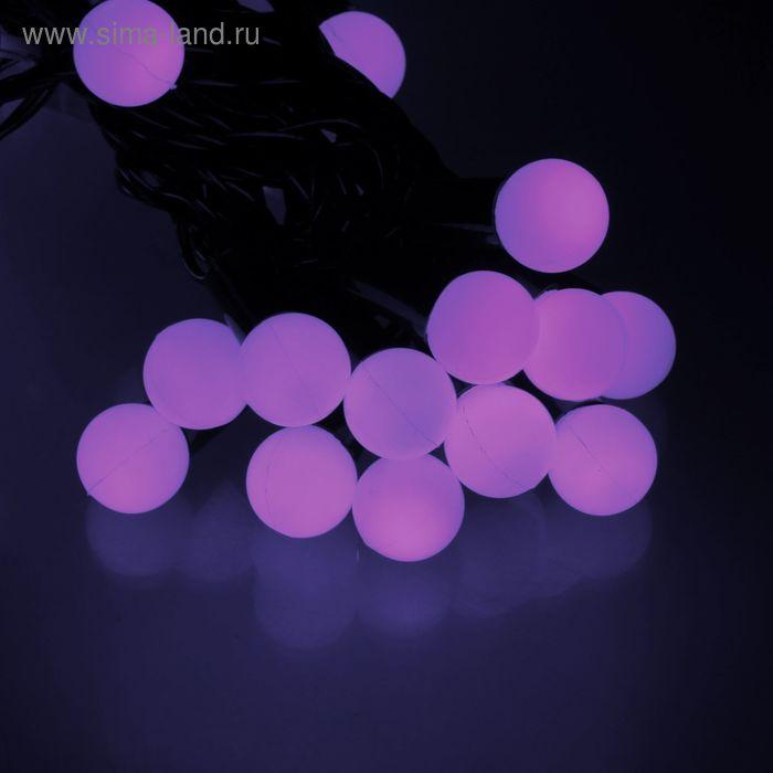 """Гирлянда уличная """"Метраж"""" с насадкой """"Шарики 1,5 см"""", 6 м, LED-50, нить темная, контр. 8 р. ФИОЛЕТ"""