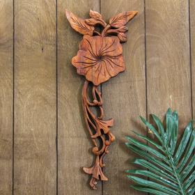 """Панно декоративное """"Плумерия"""" коричневый цвет 39х15х2 см"""