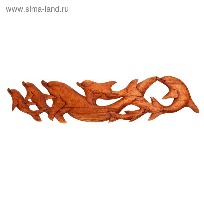 """Панно декоративное """"Стая дельфинов"""" коричневый цвет 100х22х1 см"""
