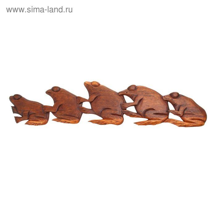 """Панно декоративное """"Лягушки"""" коричневый цвет 100х20х1 см"""