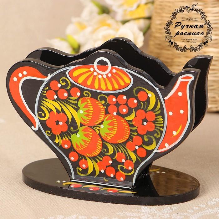 Салфетница «Чайник», 14×7×10 см, хохлома