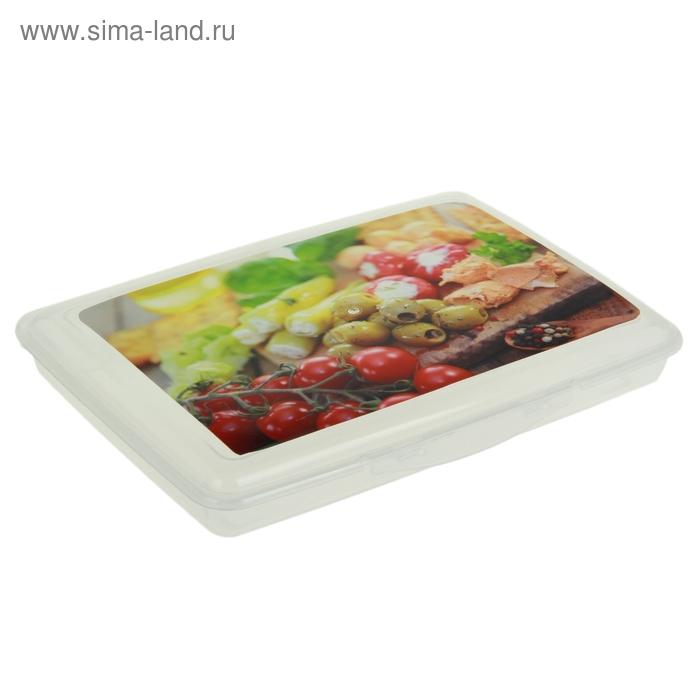 """Контейнер пищевой 24х17х4 см с крышкой """"Свежие овощи"""", прямоугольный"""