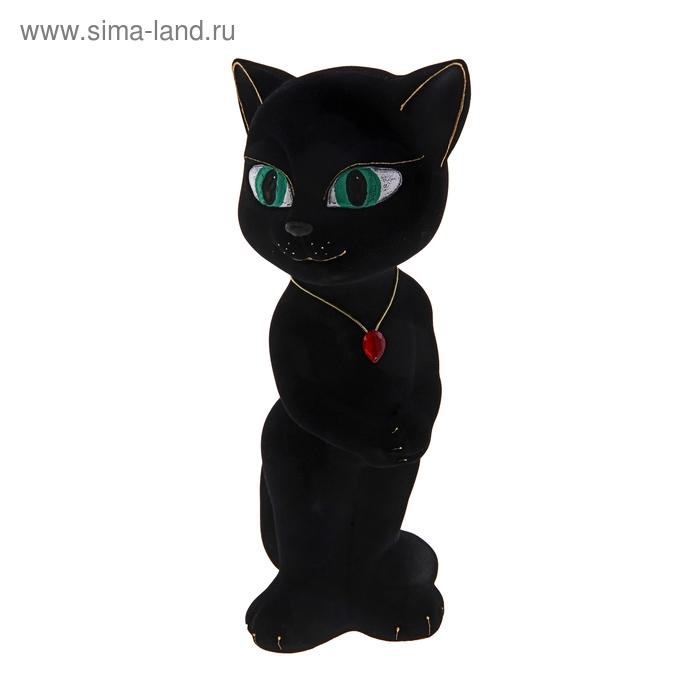 """Копилка """"Кошка Анжела"""" флок, чёрная"""