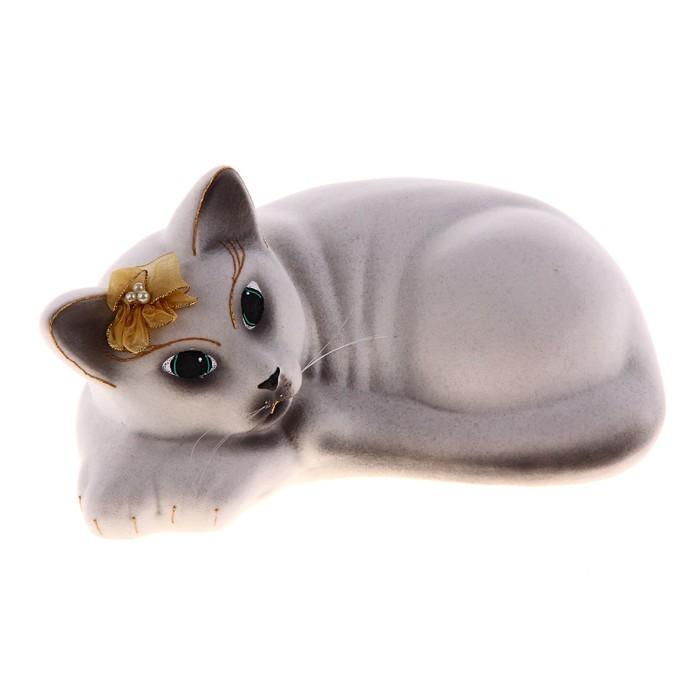 "Копилка ""Кошка Соня"" флок, белая"