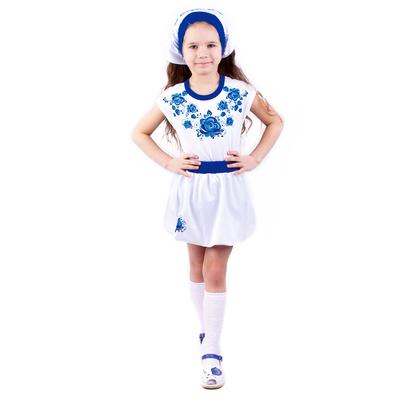 """Юбка для девочки, печать справа """"Гжель"""", рост 128 см (64), цвет белый"""