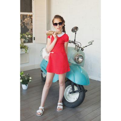Платье для девочки короткий рукав, рост 134-140 см, цвет красный/горох AZ-743