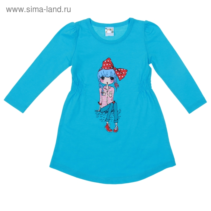 Платье для девочки длинный рукав, рост 92 см, цвет голубой AZ-740