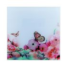 """Painting on glass """"Butterfly on flower"""""""