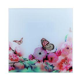 Картина на стекле 'Бабочки на цветке'  30*30см Ош