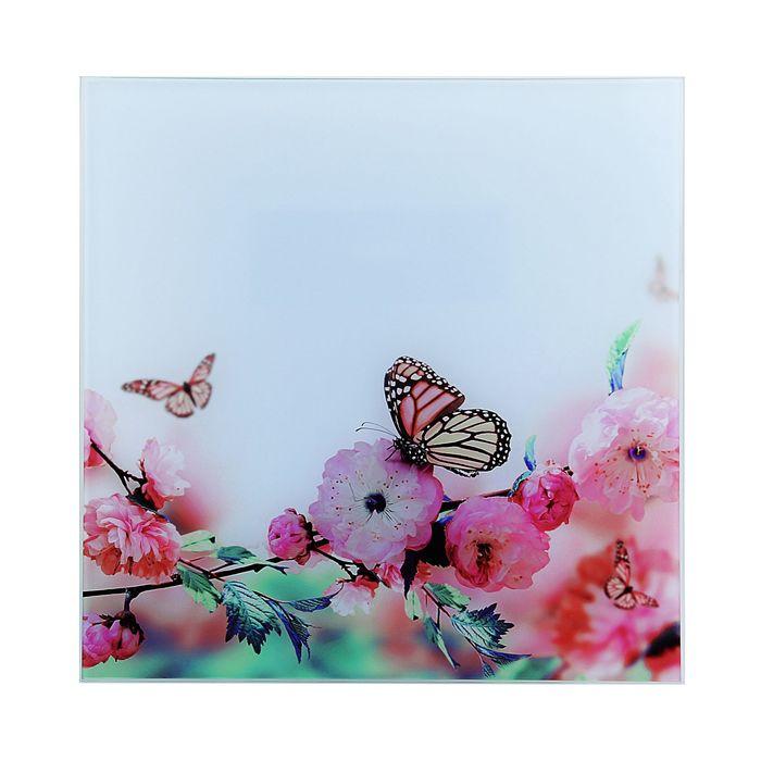 "Картина на стекле ""Бабочка на цветке"""