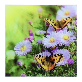 Картина на стекле 'Бабочки на цветах'  30*30 Ош