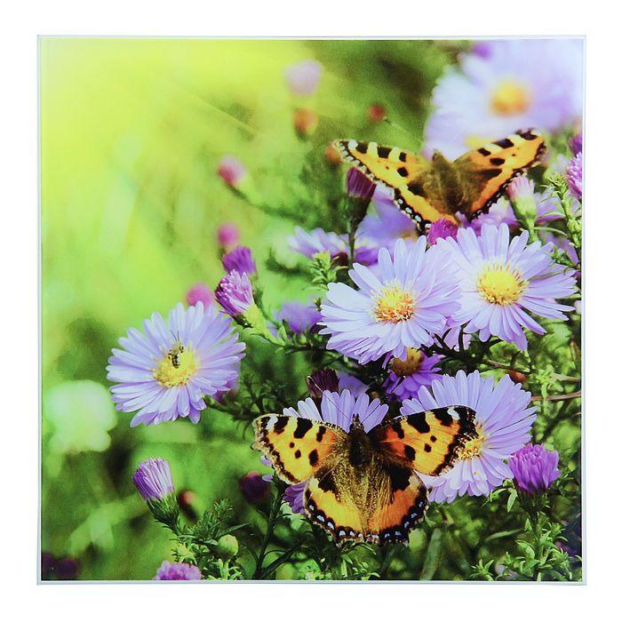 """Картина на стекле """"Бабочки на цветах"""""""