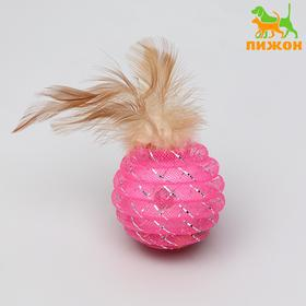 Ball-rattle Festive with feathers, 4.5 cm, mix colors