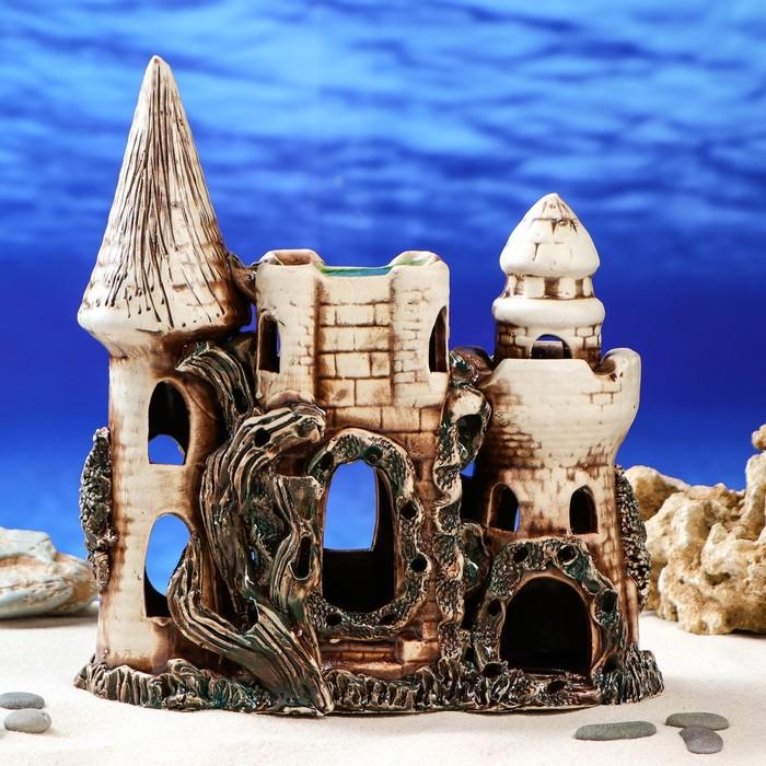 "Декорация для аквариума ""Замок с аркой"" коричневый, 10 х 23 х 28 см, микс"