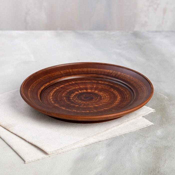 Тарелка D=250 мм гладкая красная глина