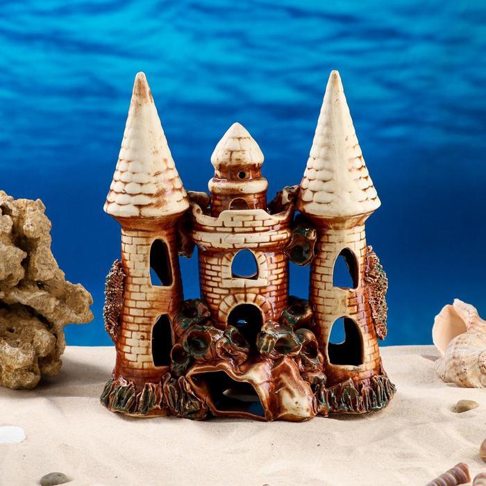 "Декорация для аквариума ""Замок острый с башней на скале"", 11 х 22 х 27 см, микс - фото 7454498"