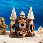 "Декорация для аквариума ""Замок острый с башней на скале"", 11 х 22 х 27 см, микс - фото 7454500"