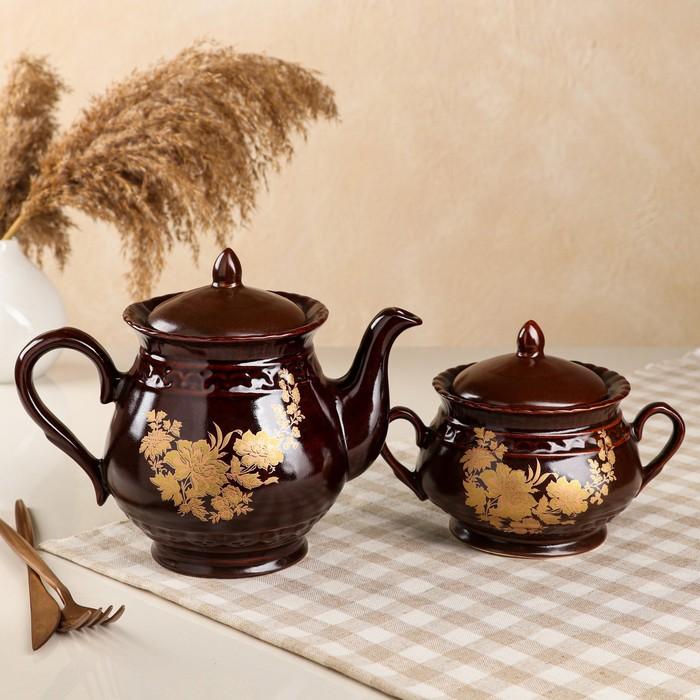 """Чайная пара """"Витязь"""" деколь, чайник 2 л, микс"""
