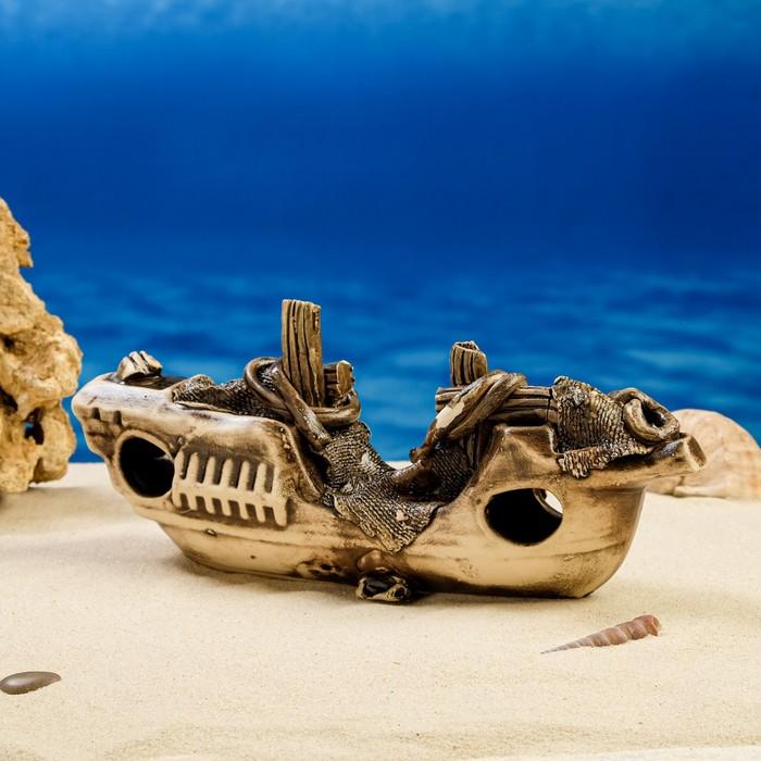 """Декорации для аквариума """"Корабль длинный"""" микс"""