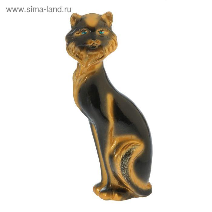 """Копилка """"Кошка Матильда"""" большая, глянец, чёрная, задувка золото"""