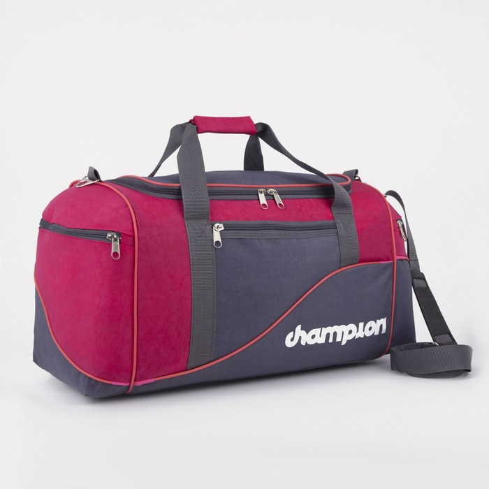 Сумка дорожная, 1 отдел, 3 наружных кармана, длинный ремень, цвет серый/розовый