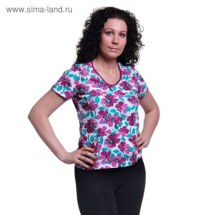 Футболка женская 1302 лилу/белый/ирис, рост 158-164 см, р-р 44 (88)
