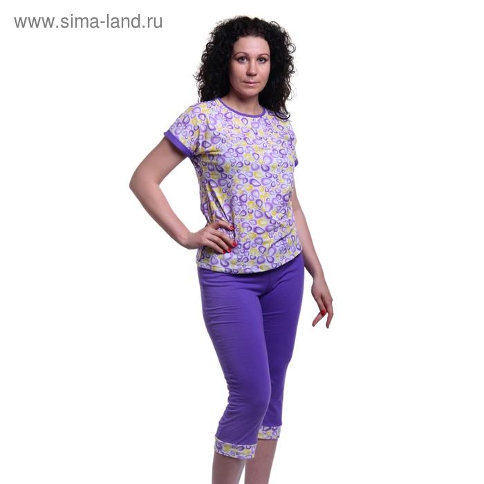 Пижама женская (туника, бриджи) 5691 бон-бон/белый/ежевика р-р 46 рост 158,164