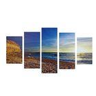 "Модульная картина на подрамнике ""Море"", 2 — 43×25, 2 — 58×25, 1 — 72×25 см, 72×125 см"