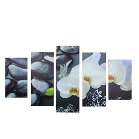 """Модульная картина на подрамнике """"Орхидеи на камнях"""", 2 — 43×25, 2 — 58×25, 1 — 72×25 см, 75×135 см"""