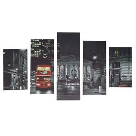 """Модульная картина на подрамнике """"Ночной город"""", 2 — 43×25, 2 — 58×25, 1 — 72×25 см, 75×135 см"""